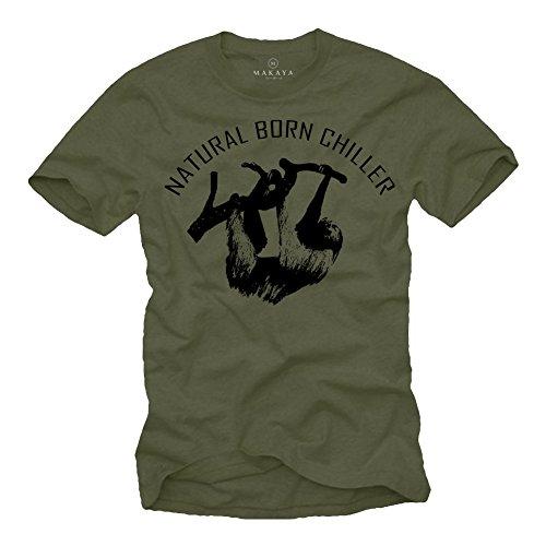Cooles T-Shirt für Männer Natural Born Chiller Aufdruck schwarz Größe M