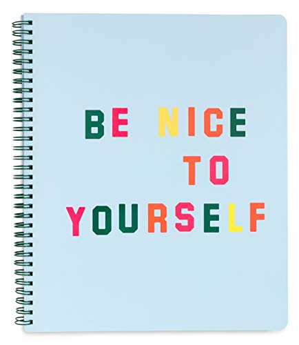 """ban.do Blue Rough Draft Large Spiral Notebook with Saying, 11"""" x 9"""" with Pockets and 160 College Ruled Pages, Be Nice to Yourself"""