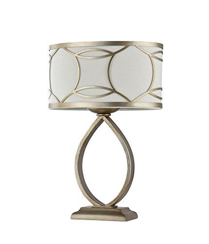 Lampe à poser, Lampe de table, style Moderne, Armature en Métal couleur or , Abat-jour en tissu Blanc, ampoule non incluse , pour le salon ou chambre 40 W E27 220-240V