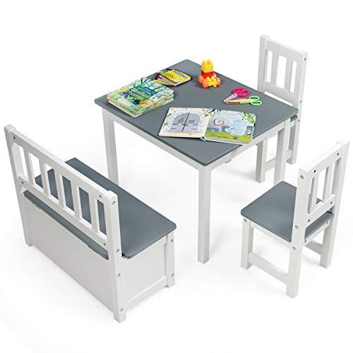 DREAMADE Kindersitzgruppe mit 40L Stauraum, Tisch + 2 Stühle + Truhenbank, Möbelset für Kinder, Kindertruhenbank Kindermöbelset für 4 Kinder geeignet, Holzsitzgruppe mit Spieltisch und Stuhlset (Grau)