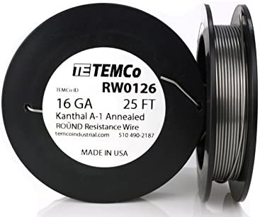 TEMCo Kanthal A1 wire 16 Gauge 25 Ft Resistance AWG A-1 ga
