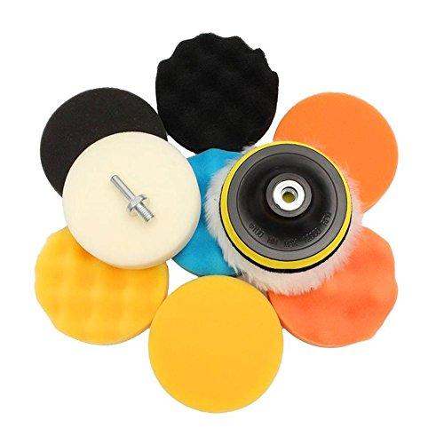 11Pcs Kit de almohadilla para encerar y pulir con esponja para el tampón del pulidor del coche con…