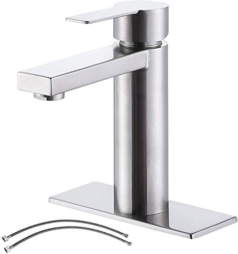 Ufaucet Modern Commercial Brushed Nickel Bathroom Faucet, Single Handle One-Hole Stainless Steel Lavatory Bathroom Vanity Sink Faucet with Faucet Supply Lines and Deck Plate