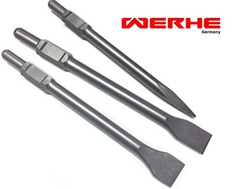 WERHE Profi SDS Hex Meißel Set 3 Stück 30 35 50 x 410 mm Kaltspattspitzspitze Flachdüse für Abbruchhammer