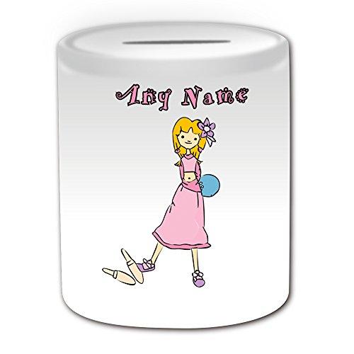 Personalisiertes Geschenk–Bowling Spardose (Sport Mädchen Design Thema, weiß)–alle Nachricht/Name auf Ihre einzigartige–Zehn Pin Ball