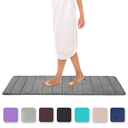 Colorxy Memory Foam Bath Mat - Soft & Absorbent Bathroom Rugs Non Slip Large Bath Rug Runner for Kitchen Bathroom Floors 16'x47', Grey
