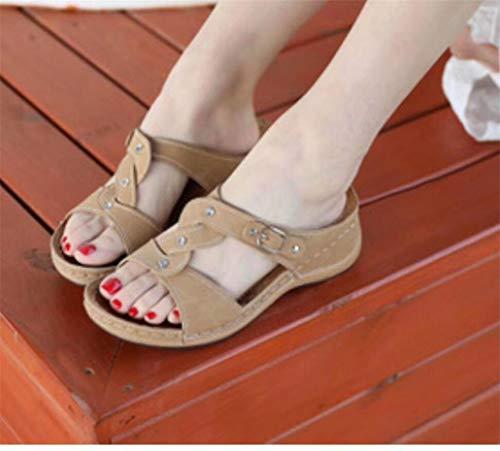 Vrouwen slippers Summer Non-Slip Cross Strap Dik Platform Wedge Simple Licht en veelzijdig zachte bodem Comfort Trendy Trendy Wandelschoenen,Flesh,37