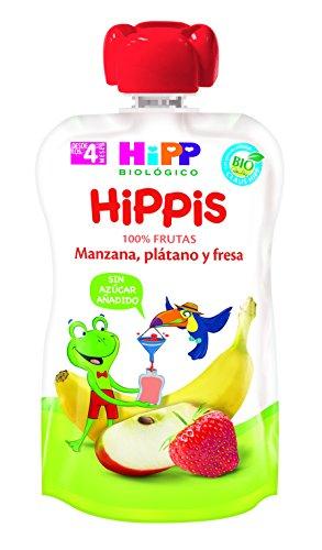 HiPP Biológico, Mezcla de fruta, cereal, yogur para bebé (Fresa, Plátano, Manzana) - 6 de 100 gr. (Total 600 gr.)