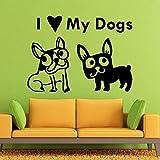 WERWN Amo a mi Perro calcomanía de Pared Mejor Amigo Perro Animal Tienda de Mascotas decoración de Interiores Vinilo Adhesivo de Pared Lindo patrón Mural
