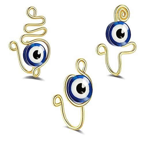 3 Unids Puño De Nariz De Los Ojos, Anillos De Nariz Falso No Piercing Evil Eye Clip Body Jewely para Mujeres Hombres