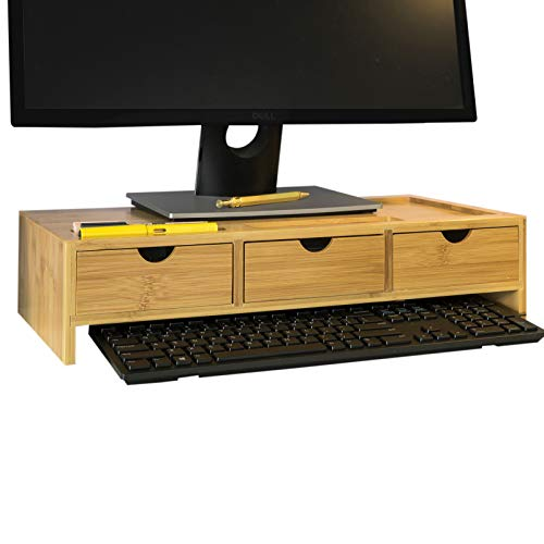SoBuy BBF03-N Monitorstandaard Bureau-organizer met 3 Laden - Bamboe hout