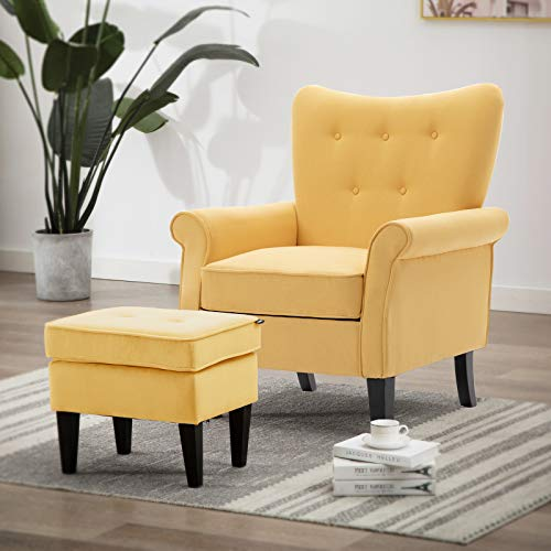 Artechworks Tufted Accent Chair with Ottoman, Single Sofa Club Chair for Living Room, Bedroom, Office, Hosting Room, Yellow