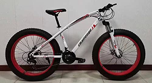 Adults Fat Tire Tyre Mountain Bike Mens/Women/Kids 21 Speed 26' x 4' Wheel MTB Suspension (White/Red)
