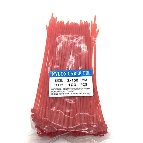 Houer Länge 15 cm Selbstsichernde Nylon-Kabelbinder 100 Stück Kunststofffarbene Kabelbinder 18 lbs Loop Wrap BundleTies, 2,5x150red100 STK