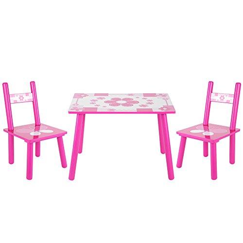 Cocoarm Kindermöbel Set Kindertisch mit 2 Stühlen Kindersitzgruppe Pink Rosa Blume Kinderzimmer Möbel