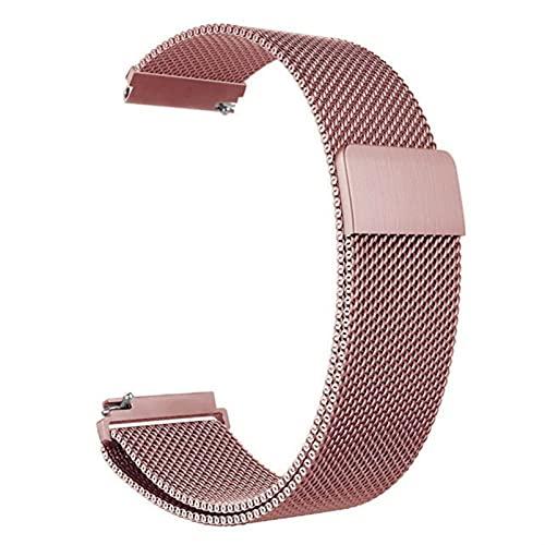 Correa magnética de metal para reloj de malla milanesa con cierre rápido para mujeres y hombres, 16 mm, 18 mm, 20 mm, 22 mm, 24 mm (rosa rosa, 18 mm)