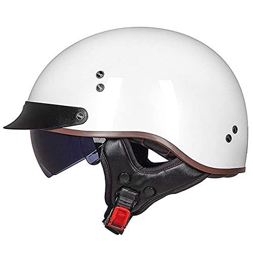 Medio casco de motocicleta aprobado por DOT/ECE casco de motocicleta eléctrico ligero motocicleta Crash Bicicletas Scooter Street Riding Viaje medio casco para adultos hombres mujeres estilo vintage
