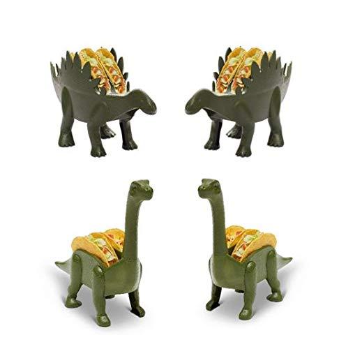 Kid at Heart Crafts Dinosaurier-Lebensmittelhalter – 4 Stück lustige Küchenhelfer (2) Brontosaurus & Stegosaurus Pfannkuchen/Waffel/Donut/Burrito Taco-Dienstags-Halter Party-Zubehör Grün