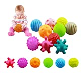 VintageⅢ Juego de 10 bolas sensoriales para bebés de 6 a 12 meses, con textura suave