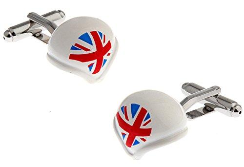 Gemelos con casco deportivo británico en una caja de