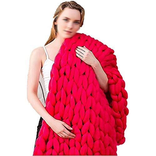 ZWDM Manta De Punto Grueso Manta Hecha A Mano De Fibra De Poliéster Gruesa De Punto Grueso Punto Sofá De Silla De Cama para Mascotas Manta De Cubierta Regalo (Color : Red, Size : 120x180cm)