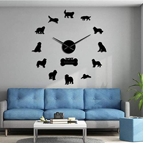 tyjsb Working Dog Breed Newfoundland Dog Silent Quartz Large Wall Clock Watch with Postures Mirror Numbers Stickers Decor-37inch