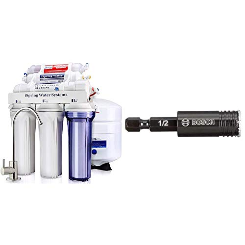 iSpring RCC7AK 6-Stage Superb Taste High Capacity Under Sink Reverse Osmosis Drinking Water Filter System with Alkaline Remineralization-Natural pH, White & Bosch HDG12 1/2 in. Diamond Hole Saw