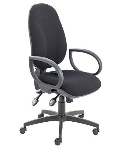 Büro Hippo ergonomisch Gepolsterte Stuhl hohe Rückenlehne mit Lenden-Pumpe und befestigter Schlaufe Arme, Stoff, Schwarz, 60x 60x 106cm