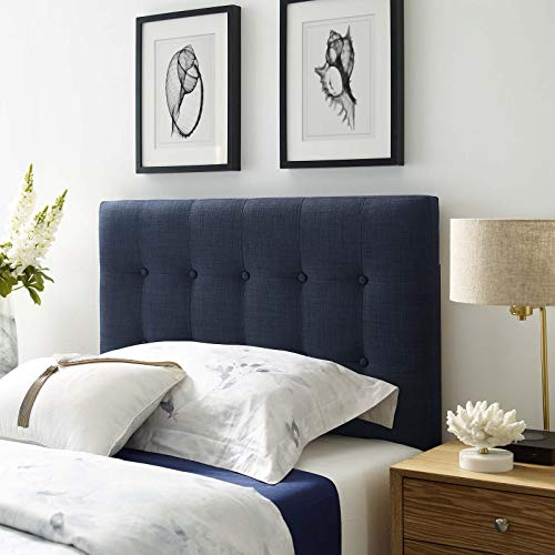 Modway Emily Twin Upholstered Linen Headboard in Navy
