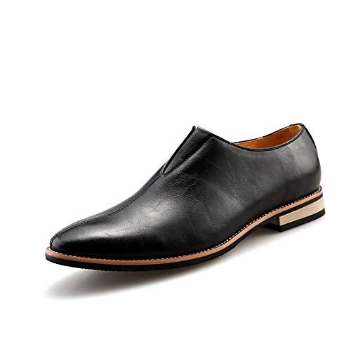 TiandaoMXL Herren Business Oxfords Casual Retro Britischer Stil Slip on Slipper mit niedrigem Absatz auf formalen Business-Dress-Schuhen Schuhe (Color : Schwarz, Size : 43 EU)