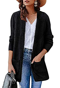 ZESICA Women s Fuzzy Cardigan Long Sleeve Open Front Casual Sweater with Pockets Black
