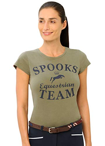 SPOOKS T Shirt für Damen Mädchen Kinder, tailliert Sommer Tshirt mit Aufdruck aus Frotee - bequem und stylisch Team - Light Olive M