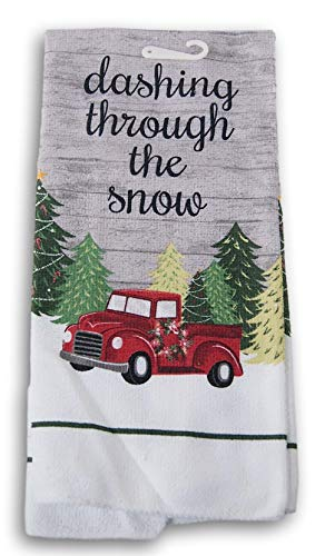 Printed Microfiber Christmas Holiday Kitchen Towel - 15 x 25 Inches (Dashing Through The Snow)