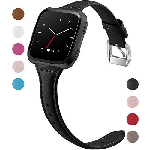 Maledan for Fitbit Versa Bands Women Men Large Small, Slim Genuine Leather Band Accessories Replacement Strap for Fitbit Versa Smart Watch