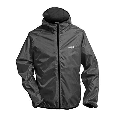 Unisex Ultraleicht Regenjacke Funktionsjacke 150 Gramm Gr. S M L XL XXL schwarz mit integrieter Tasche (XL)