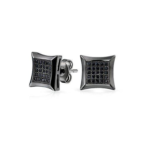 Negro cuadrado en forma de circonio micro pave CZ kite Stud Pendientes para hombres negro plateado 925 plata de ley 9MM