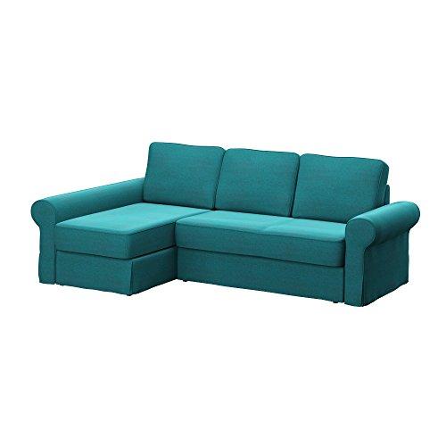 Soferia Bezug fur IKEA BACKABRO 2er-Sofa mit Recamiere, Stoff Classic Blue