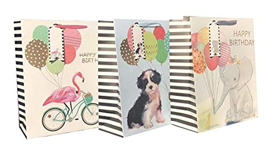 Gift Bags Set 3 Happy Birthday Animals: Dog, Elephant & Flamingo Gold Foil Embellished Large.