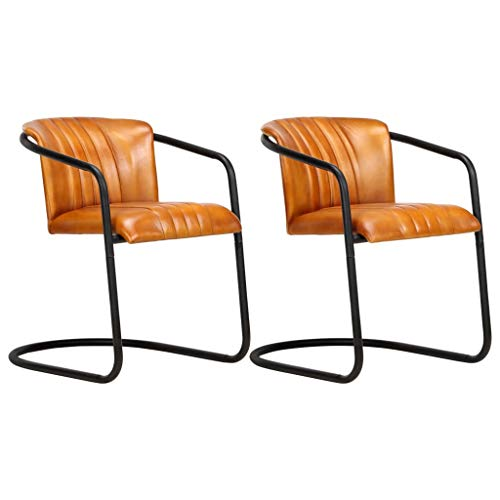 vidaXL 2X Esszimmerstuhl Freischwinger Schwingstuhl Stuhl Set Polsterstuhl Stühle Küchenstuhl Essstuhl Wohnzimmerstuhl Lederstuhl Hellbraun Echtleder