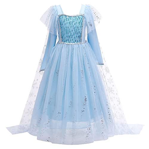 YOSICIL Vestido de Elsa, Disfraz de Elsa con Accesorios nia Disfraz Princesa Elsa Frozen Fancy Dress Cumpleaos Navidad Halloween con capa tul de Copos de Nieve