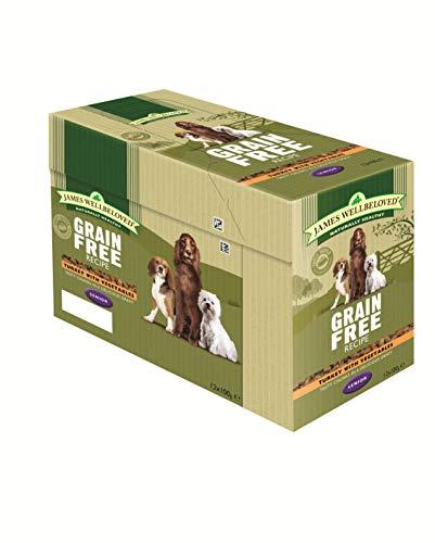 James Wellbeloved Complete Nassfutter getreidefrei Senior Hundefutter Truthahn, 12 x 100 g