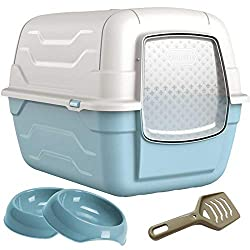 Luxury Large Litter Tray Bundle - Including Scoop, Filter and 2 x Gusto Bowls Scoop Smartly Attaches to the Hood of the Litter Box for Convenient Cleaning Designed for Cats and Other Small Animals - Translucent Flap Door for Privacy 2 x Bowls for Foo...