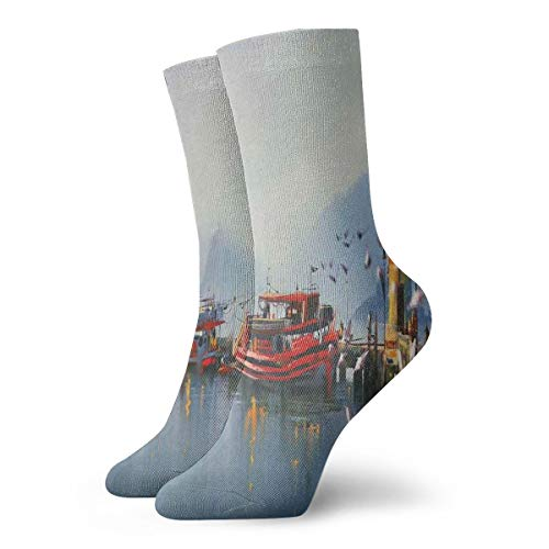High Ankle Casual Socks,View Of A Misty Morning At The Harbor With Boats And Birds In Old Fishing Town Art