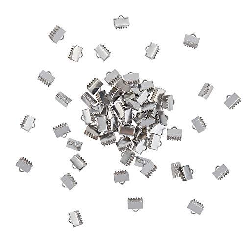 UNICRAFTALE 200 Puntas de Cinta Rectangulares de 7.5 mm, 304 Abrazaderas de Abrazadera de Cinta de Acero Inoxidable con Extremos de Cuero para Marcapáginas, Fabricación de Joyas, Agujero 1 mm