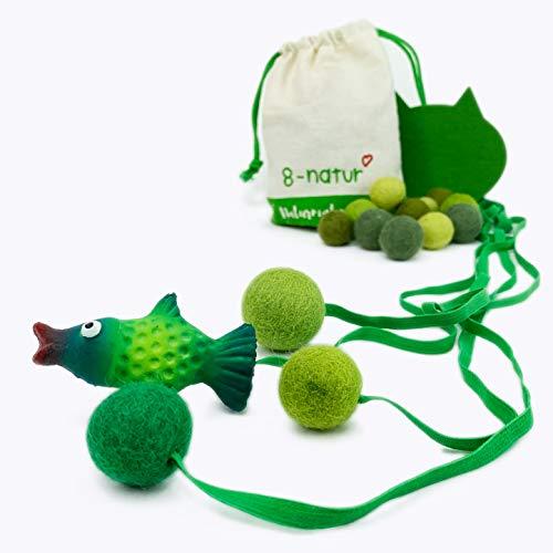 8-Natur® Katzenspielzeug | Bälle für Katzen und EIN Fisch aus Latex an Gummibändern. Katzen Intelligenzspielzeug zur Beschäftigung | Katzen Spielezeug zur Beschäftigung