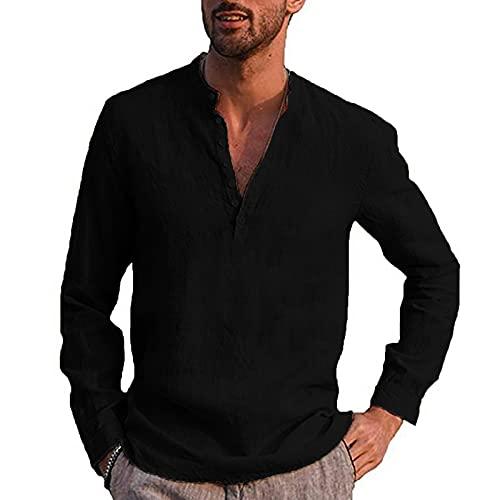 Dasongff Camisa de hombre para otoño e invierno, de manga larga, para verano, corte regular, para tiempo libre, de Henley, monocolor, de manga larga, para tiempo libre, playa, de negocios, para hombre
