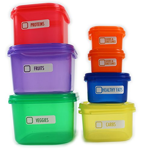 7 Piece Healthy Eating Portion Control Pots Marked Containers Weight Loss Aid (1)