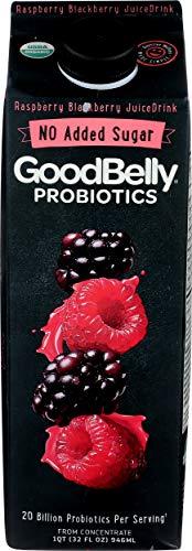 Goodbelly 20 Billion Probiotics Juice Drink, Raspberry Blackberry, 32 Fl Oz (Pack of 6)