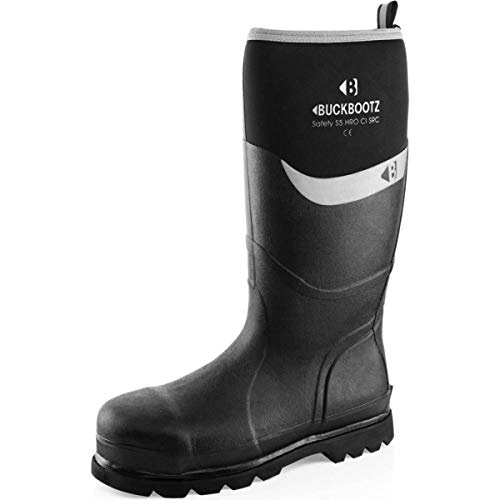 Buckler BBZ6000BL Waterproof Rubber Safety Wellington Boots Black or Blue (Sizes 5-13) Men's Wellies (5, Black)