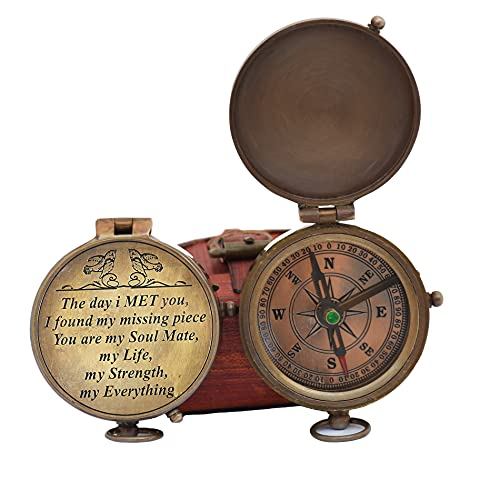 Engraved Compass, Gift for Husband,Anniversary,Wedding Gift for Him, Long Distance Boyfriend Gift, Fiance Gift I Miss You Long Distance Relationship Gift for Army Boyfriend Gift (The Day I Met You)